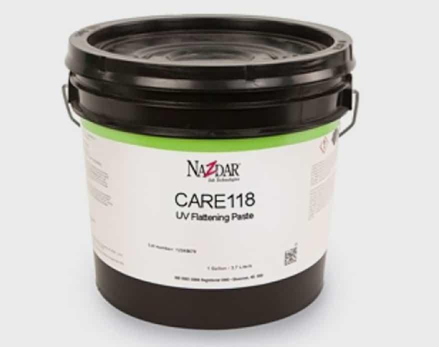 Nazdar's Care118 UV Flattening Paste for UV screen printing ink lines