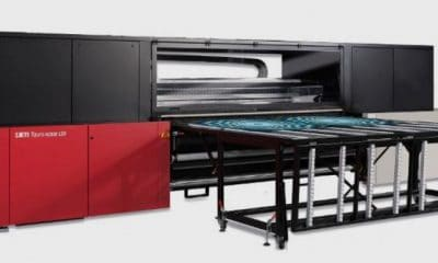 The 100-in. Jeti Tauro H2500 LED hybrid UV inkjet printer from Agfa features