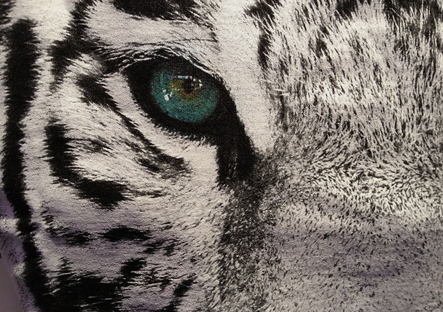 The cat's fur was printed with puff ink; the eye was done with simulated process overprinted with a clear gloss.