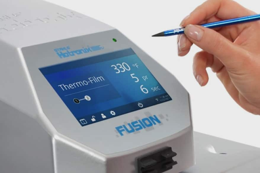 The 16 x 20-in. Hotronix Fusion IQ heat press includes an updated control panel