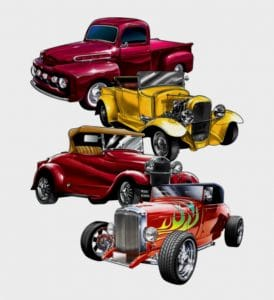 Great Dane Graphics has released new construction and vintage car designs.