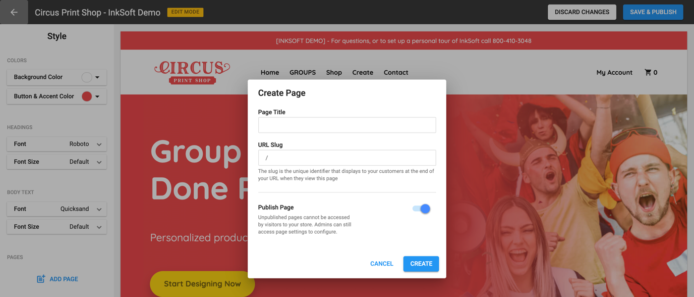 InkSoft Custom Pages Feature