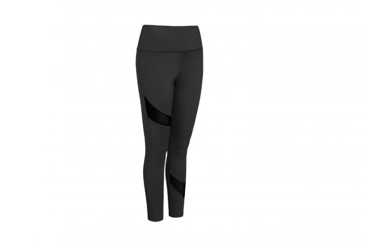 Expert Brand AQ 1037 Women's Tonal Asymmetric Mesh-Inset High-Waist Legging