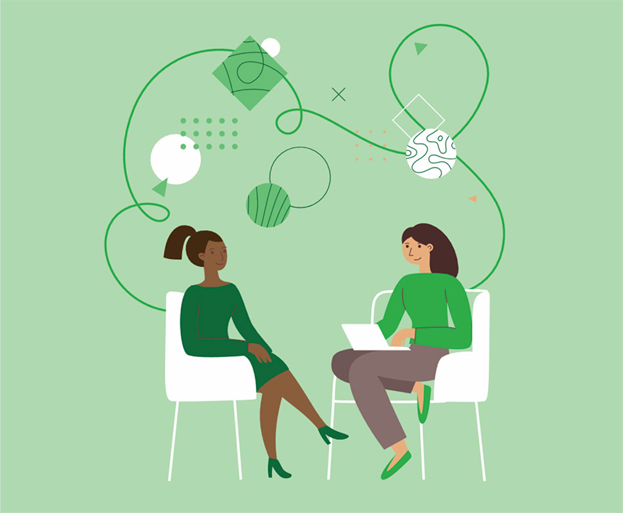 Illustration of two women in the business