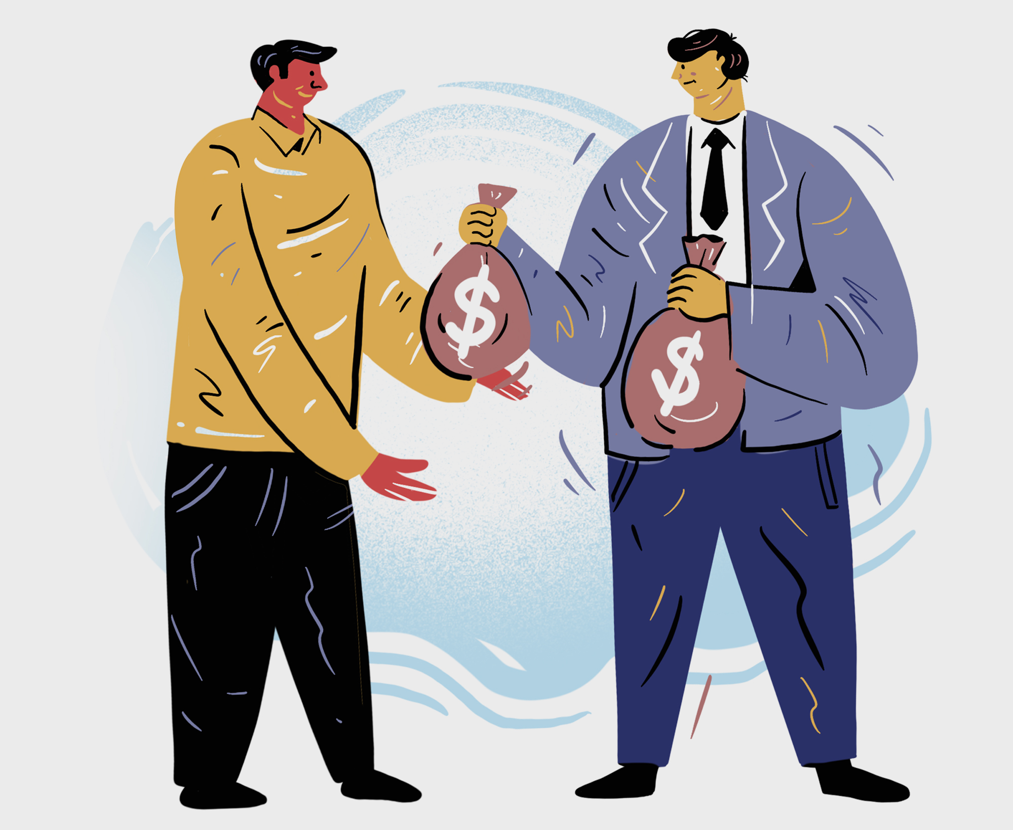 Illustration of two men with money