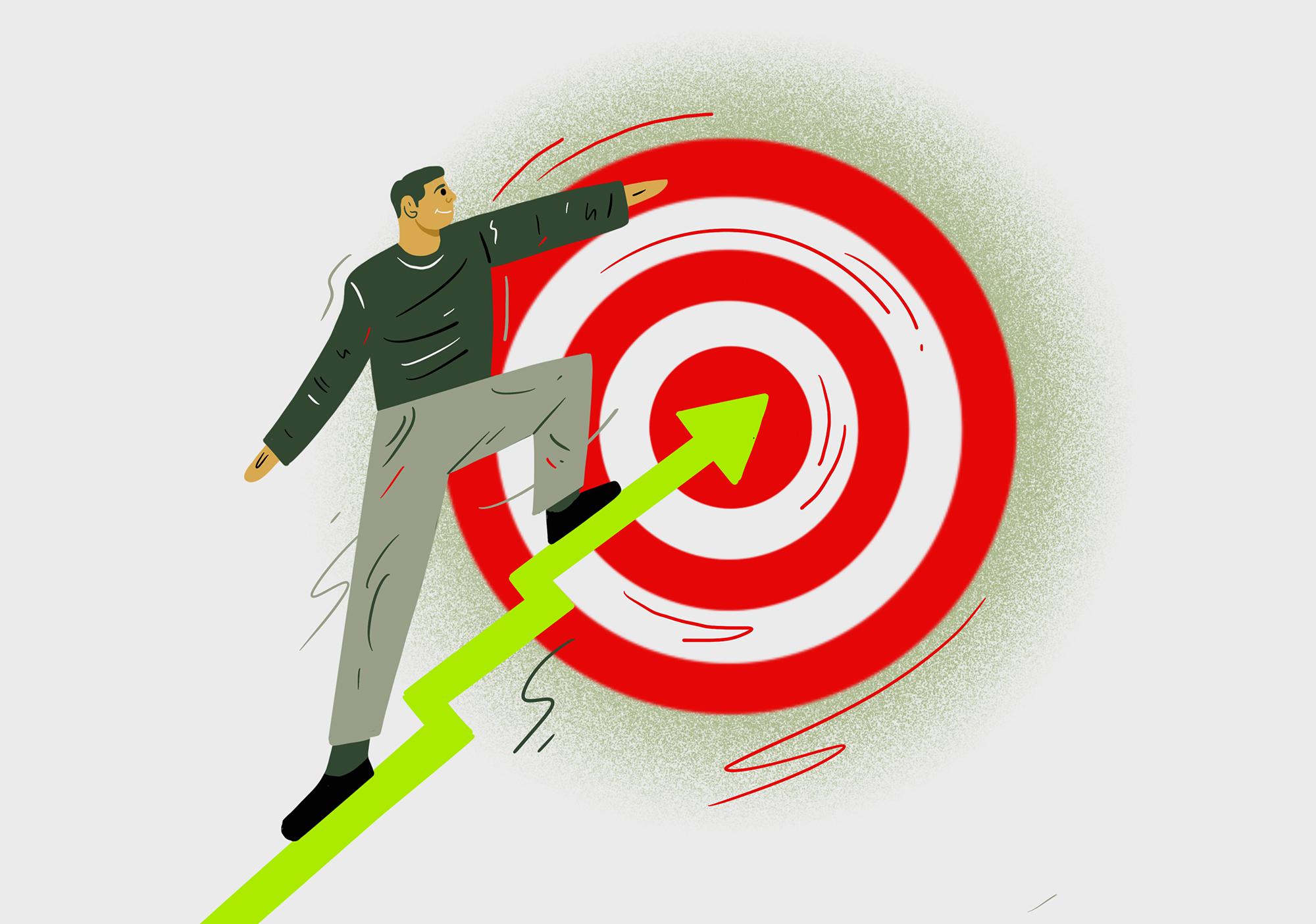Illustration of a man setting a goal