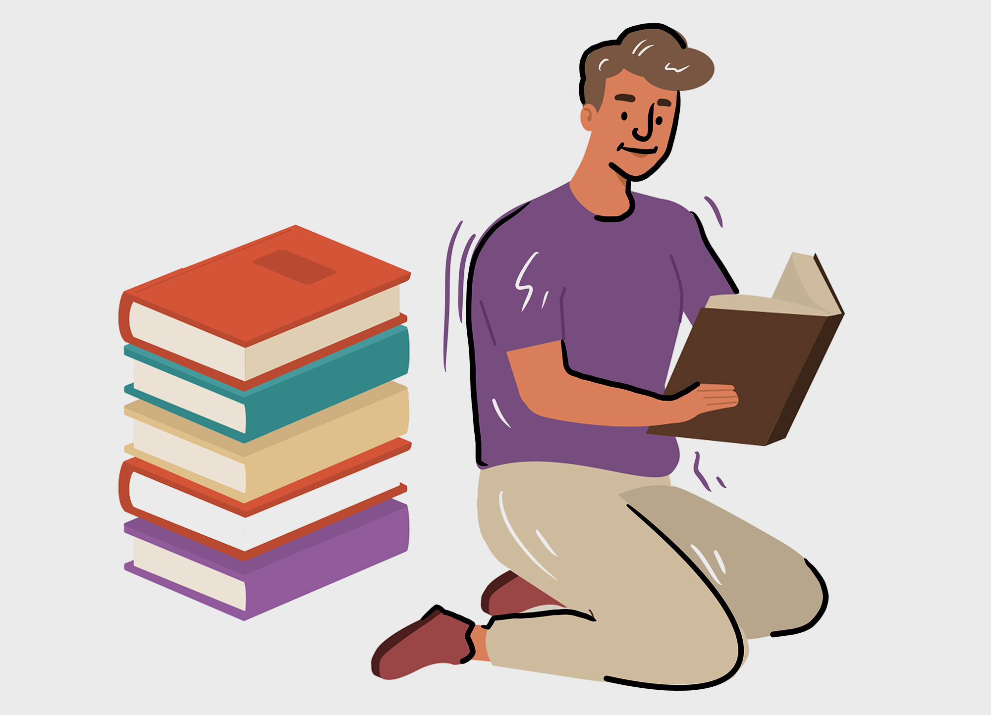 Illustration of a man reading a book