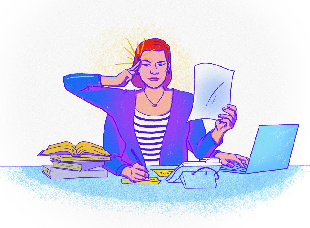lady multi-tasking