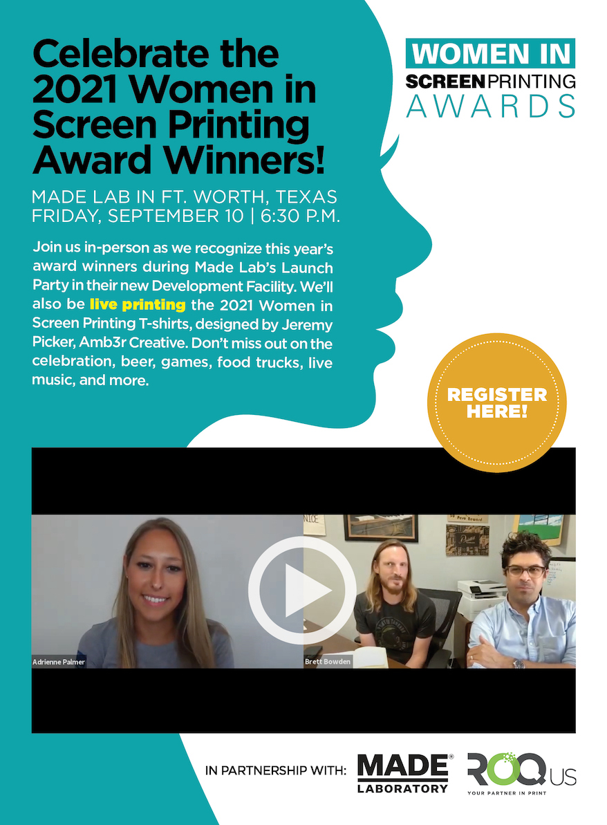 Join Us for the 2021 Women in Screen Printing Awards!